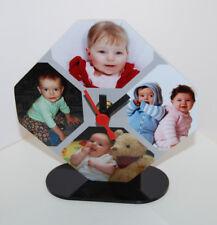 Horloge de bureau octogonale photo personnalisée avec vos 4 photos pele mele