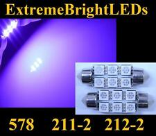 """TWO Purple 41mm 42mm 1.72"""" 211-2 578 18-SMD LED Map Dome Door Lights Bulbs #60"""