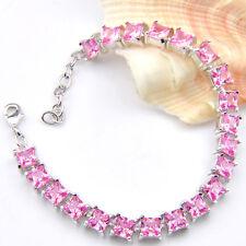 Easter Gift Artistic Rectangle Style Pink Topaz Gemstone Silver Charm Bracelets