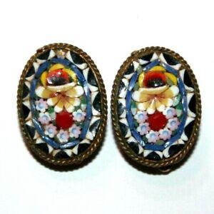 1940s micromosaic flower clip on earrings vintage
