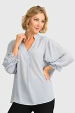 Joseph Ribkoff Grey Frost Pearl Accent 3/4 Sleeve Blouse 193254 NEW