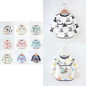 🧡🇬🇧Baby kids Feeding Bibs Waterproof Long Sleeves with Different Catcher🧡