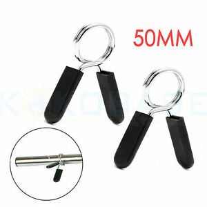 UK 2Pcs Olympic 2'' Spinlock Collars Barbell Dumbell Clips Clamp Weight Bar Lock