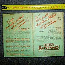 carnet de garantie complet AUTORADIO PHILIPS 1953