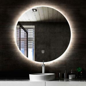 Round back lit LED mirror bathroom touch button & de-fogger 60cm and 80cm