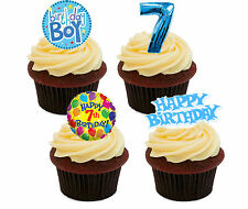 7th Birthday Boy, Edible Cupcake Toppers, Stand-up Bun Fairy Cake Decorations