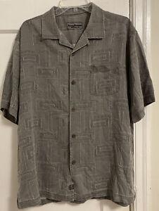 Tommy Bahama Logo Geometric Graphic Silk S/S Button Down Shirt Sz L!