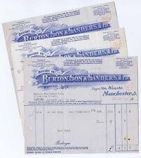 1948 Billheads x3 - Burton, Son & Sanders Ltd Sugar Mills, Weaste, Manchester