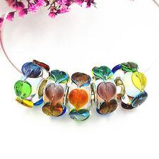 5pcs MURANO Lampwork charm Beads fit 925 silver European Bracelet Chain a469