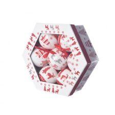 """Boite de 7 boules """"Renne"""" rouges et blanches"""