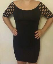 Sexy Black Fishnet Mesh Shoulder Seamless Stretch Clubwear Dress OSFM QCO