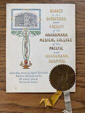 Antique Menu Hahnemann Medical College San Francisco CA 1910 Fairmont Hotel