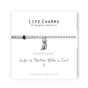 """Life Charms Bracelet - """" Life Is Better With a CAT """" - Beautifully Gift Boxed"""