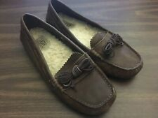 UGG Meena Leather Sheepskin Lined Moccasin Leather Loafers Slippers - Size 7