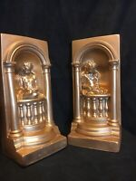Pair Of BOOKENDS Reading Angels Cherubs Gold Finished Plaster  Vintage Figurines