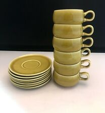 7 Russel Wright Demitasse Cups & Saucers Espresso Chartreuse LN CHARITY