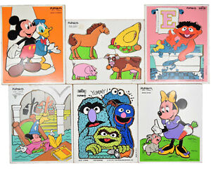 Lot of (6) 1970's Vintage Playskool Wood Puzzles Mickey Mouse Sesame Street
