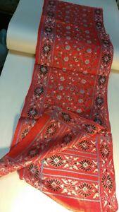 Vintage silk indian scarf art ! brick red handmade silkscreened flower abstract