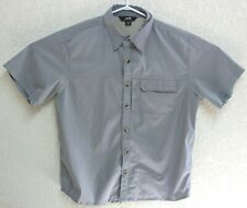 Avia Mens Gray Vented Travel Short Sleeve Camp Shirt Polyester Blend Medium EUC