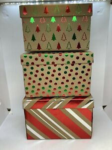 Set of 3 Brown Cardboard Gift / Craft Boxes w/ Foil Christmas Prints