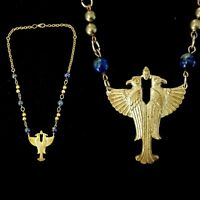 Vintage 1930s Egyptian Revival Double Phoenix Necklace Real Lapis!