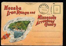 Postcard Folder Minnesota MN Mesaba Iron Range Ore Mine Arrowhead Country Linen