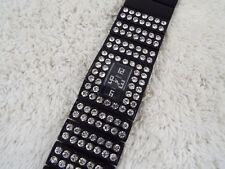 GENEVA Ladies Black Enamel Rhinestone Bracelet Watch (C8)