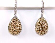 Fancy Yellow Pear Cluster Diamond Drop Earrings 14K White Gold 3.22Ct