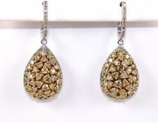 Fancy Yellow Pear Cluster Diamond Drop Fashion Earrings 14K White Gold 3.22Ct