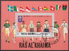 Ras al Khaima 1971 used Bl.96 A Pfadfinder Scouts Scouting Japan Flaggen Flags