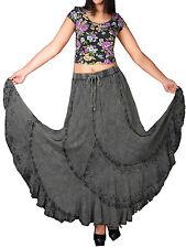 eaonplus BLACK (ACID WASH) Scalloped Renaissance Maxi Skirt Size 14/16 to 34/36