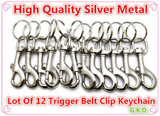 Lot Of 12 Snap Clasp Hook Trigger Belt Clip Silver Metal Key Chain With Key Ring