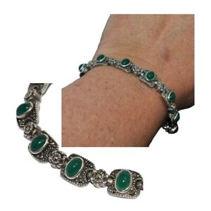 Bracelet Sterling Silver 925 Marcasite And Onyx Green 19cm Jewel
