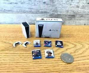 Dollshouse Miniature PS5 Bundle / Console Box Controllers & 5 Games / 1:12 Scale
