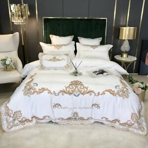 embroidery floral cotton satin bedding set 4pcs duvet cover flat sheet pillowcse