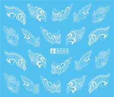 Nail Art Stickers Water Decals Transfers White Mono Design (B044)
