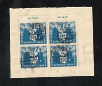 Germany East,DDR 1951  Block of 4 Scott # 81 Michel #285 Used  12/6/51  On Piece