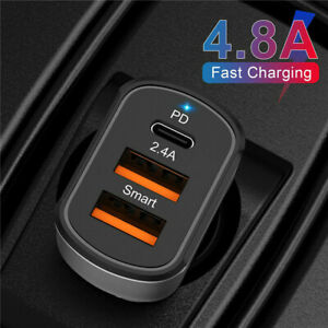 Dual USB PD 30W Type-C Car Charger Fast Charge Adapter For iPhone 12 11 Pro Max