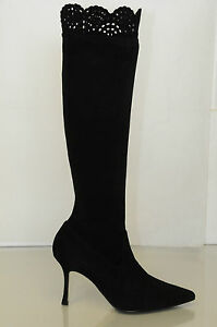 New MANOLO BLAHNIK Pafatolo 90 Black STRETCH SUEDE Boots SHOES 34.5 36.5