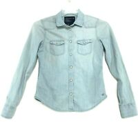American Eagle Outfitters Denim Chambray Shirt Womens Size XS Blue Pearl Snap