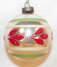 Vintage Christmas Ornament Mercury Glass Silver Red Petals Green Stripes #440