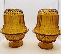 Vintage Pair Fairy Lamp Light Amber Indiana Glass 2 Part Use Tea light Or Votive