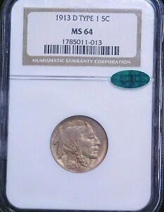 1913-D Type 1 Buffalo Nickel NGC MS64 CAC Golden with Superb Luster, PQ #73T