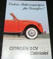 CITROEN 2CV 2 DOOR CABRIOLET BROCHURE. 1989. GERMAN TEXT.  RARE. VGC > EXC