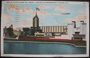Hall of Science Century of Progress Chicago ILL, Postcard Postmarked 1933