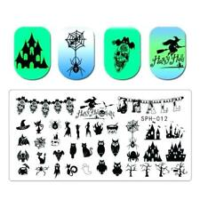 Nail Art Stamping Plates Image Plate HALLOWEEN Spiders Web Witch Bats Owl SPH12