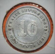 Straits Settlements - Malaysia 10 Cents 1891 Extremely Fine Silver Coin