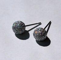 1 Paar Edelstahl Ohrstecker Glitter Kugel Ball glitzer Ohrringe 3-8 mm Größe