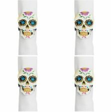 Sugar Skull Shaped Napkin Rings Set of 4 Painted Capiz Shell