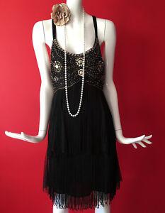 Red Herring Black Flapper 1920s Gatsby Sequin Beaded Tassle Fringe Dress UK 10